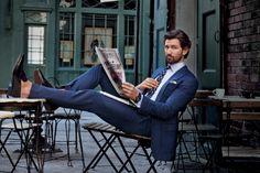 Michiel Huisman dons pinstripe suit from Ralph Lauren for a GQ photo shoot.