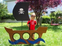 The last two years Matthew has asked for a pirate party. I tend to get a bit carried away when it comes to making things and a party is a . Deco Pirate, Pirate Day, Pirate Birthday, Pirate Theme, Boy Birthday, Pirate Preschool, Pirate Crafts, Nautical Party, Cardboard Crafts