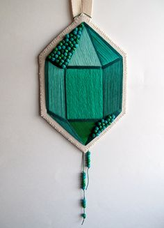 Textile wall hanging hand embroidered faux gem by AnAstridEndeavor ( via @Justina Siedschlag Siedschlag Blakeney )