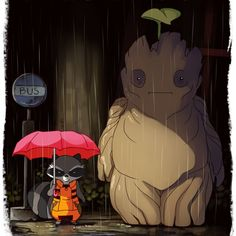 Groot and rocket as Totoro