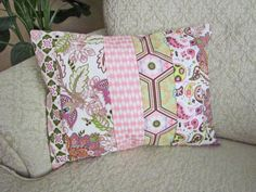 Beautiful eclectic mix of fabrics in a patchwork style pillow cover.  Perfect for a bench, bed, or accent chair.  Pink Patchwork Pillow Cover Pink Nursery by asmushomeinteriors