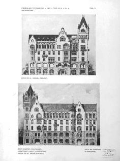 Tenement house design for Gebethnerr & Wolff book company at 1 Zgoda st. in Warsaw - elevation drawings (1906, arch. Bronisław Brochwicz-Rogóyski).