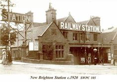 New Brighton Railway Station opened in 1888 Liverpool Town, Liverpool History, Old Train Station, Train Stations, New Brighton, History Photos, Train Rides, Vintage Postcards, Past