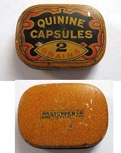 Small Antique Medicine Quinine Capsules 2 Grains Advertising Tin Pill Box c 1910