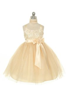 MB_237CH - Flower Girl Dress Style 237 - Mesh Party Dress with Rosette Bodice - Taupes and Champagnes - Flower Girl Dress For Less