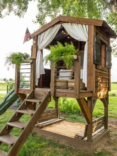 Backyard Play Spaces, Backyard Playground, Backyard For Kids, Backyard Projects, Backyard Patio, Backyard Landscaping, Outdoor Spaces, Outdoor Living, Backyard Treehouse