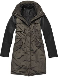 New in: Parka coat with leather sleeves | winter coats | Pinterest