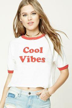 Cool VibesコントラストクロップTシャツ