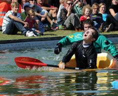 Germany's pumpkin regatta: One of Europe's most unusual water races took place at Ludwigsburg Palace near Stuttgart, Germany on 9/16/2012. Paddlers had to cover 60 kilometers in hollowed-out pumpkins. They proved to be sturdy for the most part, but a few unfortunates took on too much water to canoe successfully.
