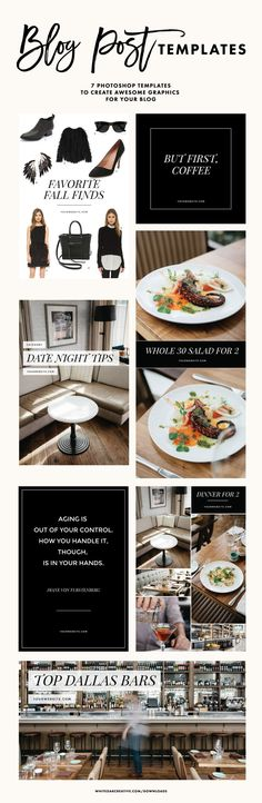 Classic Blog Post Graphic Templates - 7 Photoshop Templates for $10, includes social media sizes (Instagram, Facebook, Twitter, Pinterest)