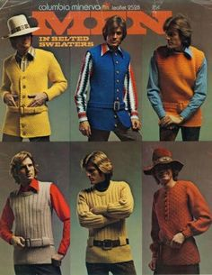 Men in belted sweaters - another reason why some seventies fashions need never  come-back.