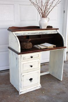 Distressed roll top desk
