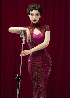 Chinese qipao cheongsam dress could also appear in the modern place showing the modern style