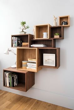 Solid wood cube shelves in walnut or oak Diy Bookshelf Wall, Bookshelf Design, Wall Shelves Design, Unique Wall Shelves, Creative Bookshelves, Home Decor Furniture, Diy Home Decor, Cube Shelves, Wall Boxes