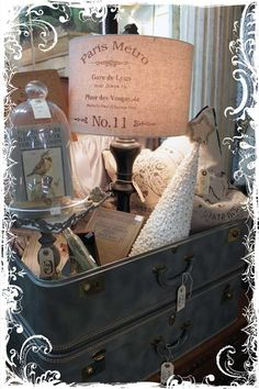 Great Paris display in suitcase....Booth display ideas