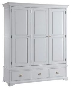 Lowa Painted Grey Country Style Triple Wardrobe With Drawers - OUT OF STOCK UNTIL EARLY JUNE