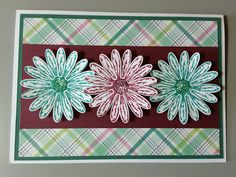 Card designed by Sandy using Stampin UP Daisy Delight stamp set, punches and inks with other paper crafting supplies.