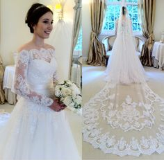 See through Lace Covered Back Off The Shoulder Wedding Dress With Sleeves $249.00