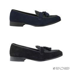 Mens Black Navy Blue Real Suede Leather & Calf Hair Tassel Loafer Vintage Shoes