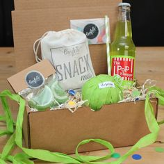 Surprise Ball Goody Box - Lime Rickey Box - Send A Gift // Thank You Gift // Birthday Gift // Congratulations Gift // Get Well Gift // Smile by ConfettiGiftCompany on Etsy