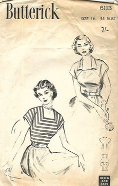 "Vintage 1950's Sewing Ultra Feminine Square Neck Blouse Top Bust 34"" Repro #Butterick"