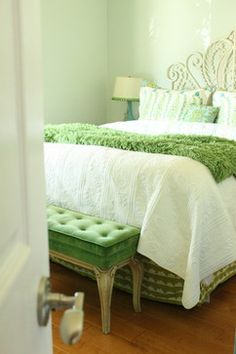 Turquoise and Green Bedroom eclectic bedroom