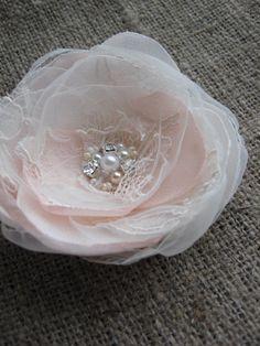 Wedding vintage inspired bridal accessory Hair clip Ivory Blush Flower lace Rose fascinator rhinestone pearls 3 inch