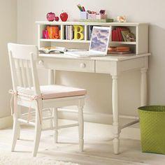 Land of Nod  Desk space for the Girls Homework Girls White Desk, White Desks, Jenny Lind, Homework Desk, Kids Homework, Homework Station, Girl Desk, Girls Desk Chair, Bedroom Desk