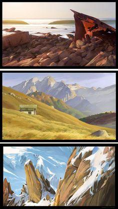 Concept art landscape nature posts 47 ideas for 2019 Landscape Concept, Fantasy Landscape, Landscape Art, Landscape Paintings, Landscapes, Landscape Drawings, Landscape Illustration, Digital Illustration, Matte Painting