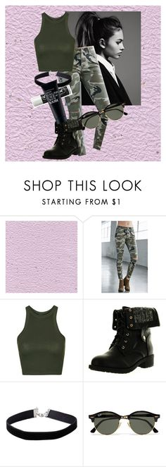"""Camo Printed Pants"" by ari-ellah ❤ liked on Polyvore featuring Bullhead Denim Co., Topshop, Refresh, Miss Selfridge, Ray-Ban, Chapstick and Clark's Botanicals"