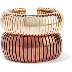 RosanticaGiraffa Set Of Two Gold And Copper-tone Cuffs (€91) ❤ liked on Polyvore featuring jewelry, bracelets, accessories, pulseiras, gold, gold jewelry, gold jewellery, chunky bangles, chunk jewelry and rosantica jewelry