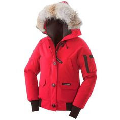 Canada Goose Women's Chilliwack Bomber Jacket ($750) ❤ liked on Polyvore featuring outerwear, jackets, torch, utility jacket, zip bomber jacket, zip jacket, red hooded jacket and red flight jacket