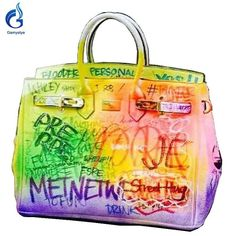 7f8fa95aac 2018 hot sale Women Platinum handbags hand-painted custom name colorful graffiti  bags luxury bags women totes Art handbags. Yesterday s price  US  279.00 ...