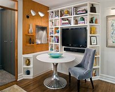 ideas home library corner small spaces living rooms for 2019 Small Space Living Room, Tiny Living, Small Spaces, Living Rooms, Mini Loft, Tv Nook, Home Tv, Trendy Home, Home Office Design