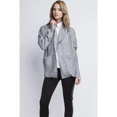 Grey Stylish Oversized Office Style Cardigan LAVELIQ