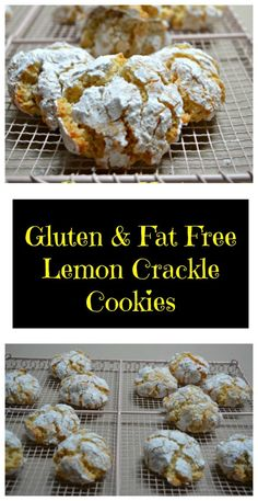 These lemon crackle cookies are so easy - you just need a handful of ingredients mixed with whipped egg whites and you have a biscuit that is super crunchy on the outside with a chewy middle. Lemon Biscuits, Crackle Cookies, Quick Cookies, Lunch Box Recipes, Yummy Treats, Cookie Recipes, Gluten, Fat, Fast Recipes