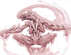 Licker β (sketch) - Resident Evil 5 Concept Art Resident Evil 5, Character Design References, Creature Design, Fantasy Creatures, Art Tutorials, Game Art, Concept Art, Scary Things, Aliens