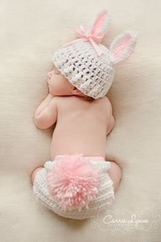 Newborn Bunny Hat Diaper Cover Set...so cute!