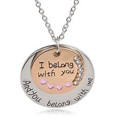 """""""I Belong With You And You Belong With Me """" Letter Necklace Valentine's Day Gift Gold Silver Tone Rhinestone Circular Engraved Necklace Double Round Shape Pendant for Couples. Material: Alloy Silver Plated. Weight: 14.5grams Chain Length: 50cm(19.7inch) Pendant Size : 3*3cm(1.18*1.18inch). Suitable for couples, perfect choice for your life, especially for party,As a Valentine's Day Gift , wedding etc. Shipping: 10-20 days to US, 15-35 days to other countries. Stylish and classic…"""