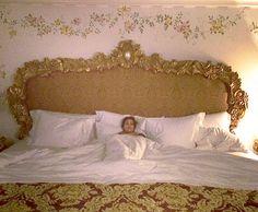 After a tiring day Kourtney Kardashian tweeted a picture of herself in a giant Versace bed  Read more: http://www.dailymail.co.uk/tvshowbiz/article-2579953/Kourtney-Kardashian-pushed-balcony-just-underwear-BFF-Jonathan-Cheban.html#ixzz3Kpw1I2D7