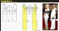 Modelagem vestido silhueta Coluna♡