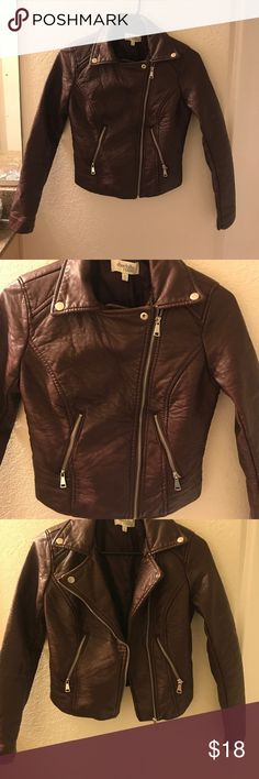 Maroon Leather Jacket Charlotte Russe Faux Leather• Maroon Color• Charlotte Russe• Crooked ZIP• Pockets• Size Small• Cute• Charlotte Russe Jackets & Coats