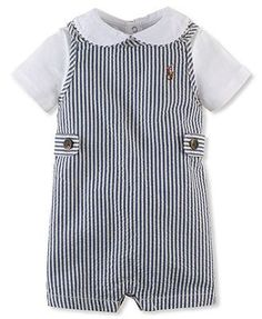 Ralph Lauren Baby Boys' 2-Piece Seersucker Shortall & Bodysuit Set: