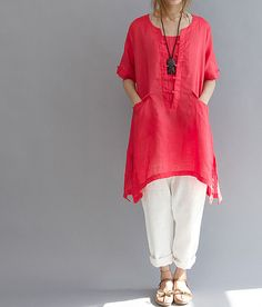 linen Asymmetrical long shirt/ Plus size long shirt/ by MaLieb