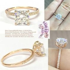 Cushion FB Moissanite Engagement Ring Diamond Uner Halo 14K Rose Gold 7mm - Sale! Up to 75% OFF! Shot at Stylizio for women's and men's designer handbags, luxury sunglasses, watches, jewelry, purses, wallets, clothes, underwear