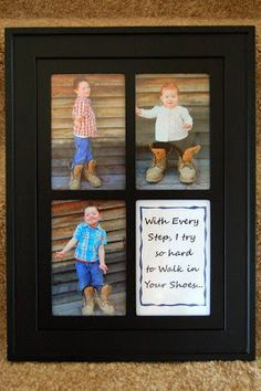 "Last year I made this gift for my hubby for Father's Day where I took pictures of my kids in Daddy's work boots and put them in a frame with the quote ""With Every Step, I try to hard to Walk in your Shoes."" You can see my blog post HERE about it. A very …"