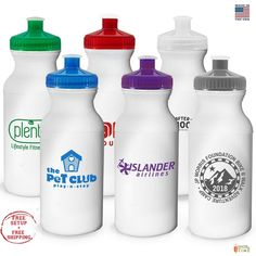 School Name 100 QTY Personalized Sports Water Bottles 28 oz Printed W// Logo
