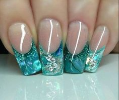 under the sea inspired french mani