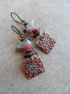 A Little Bird Told Me ... Copper Floral Charm by juliethelen