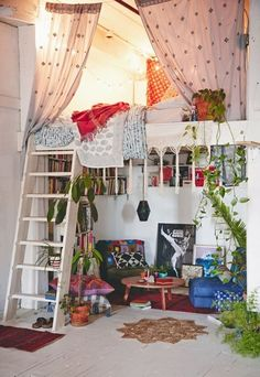 A Gallery of Bohemian Bedrooms Perfect for a small room for reading and relaxing! Especially if it had a skylight or a large window The post A Gallery of Bohemian Bedrooms appeared first on Design Ideas. Dream Rooms, Dream Bedroom, Bedroom Beach, Diy Bedroom, Master Bedroom, Budget Bedroom, Magical Bedroom, Loft Bedroom Decor, Yoga Bedroom